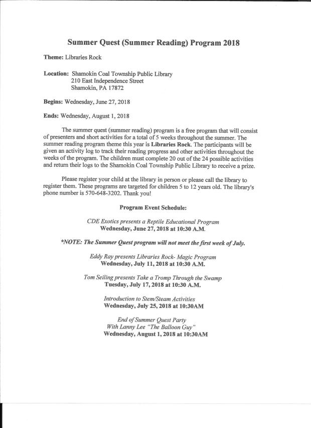 Summer Quest Program Schedule 2018