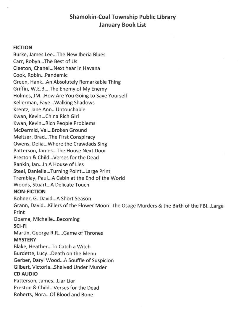 january 2019 book list