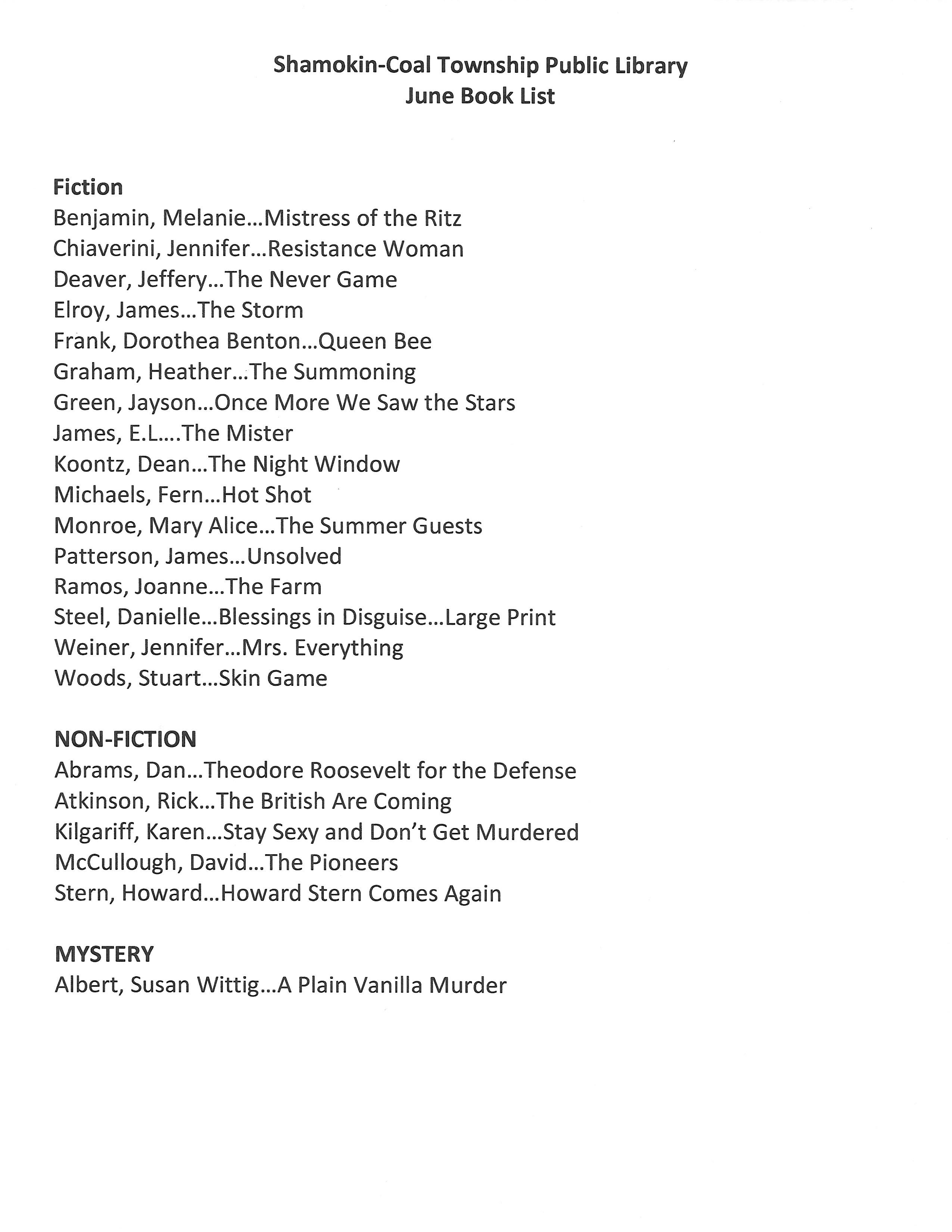 June 2019 Book List