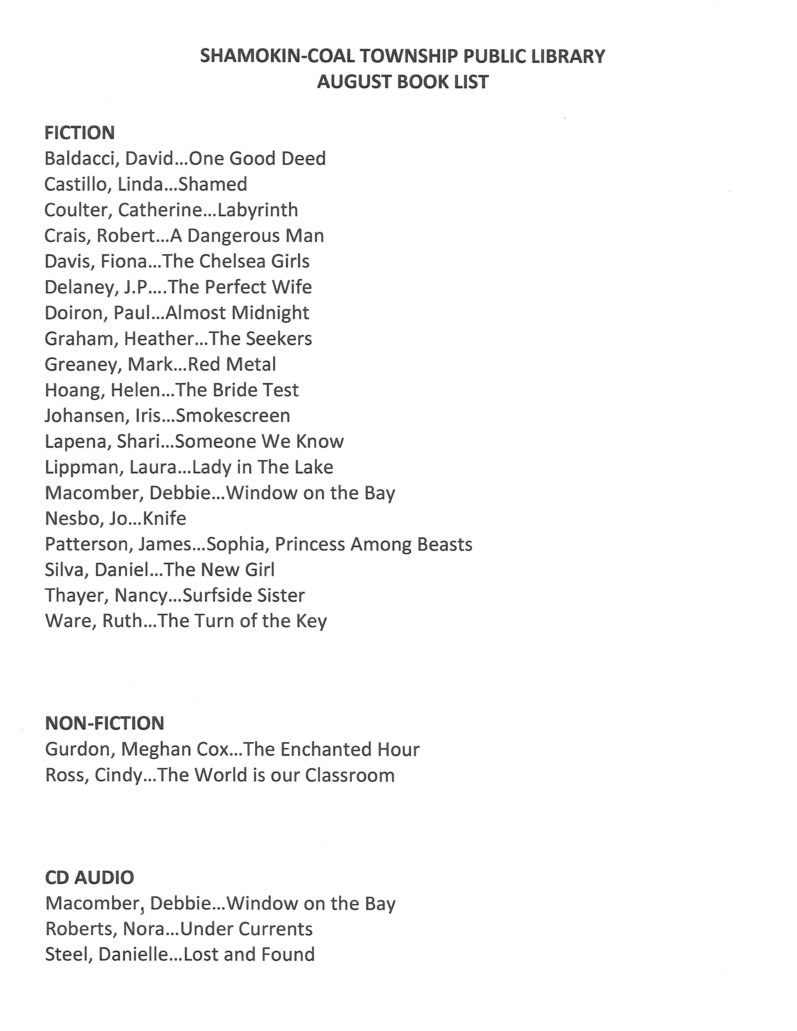 August 2019 Book List