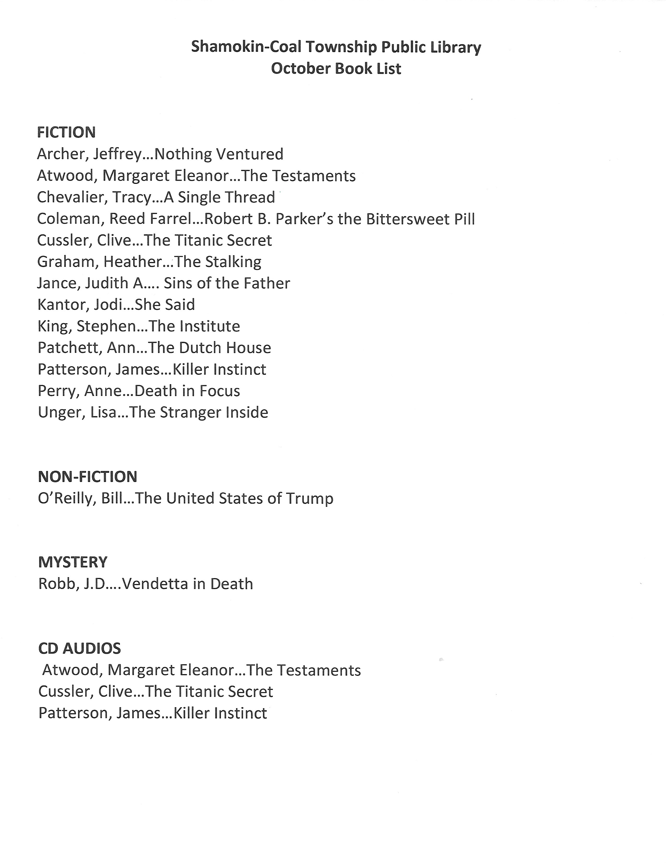 October 2019 booklist