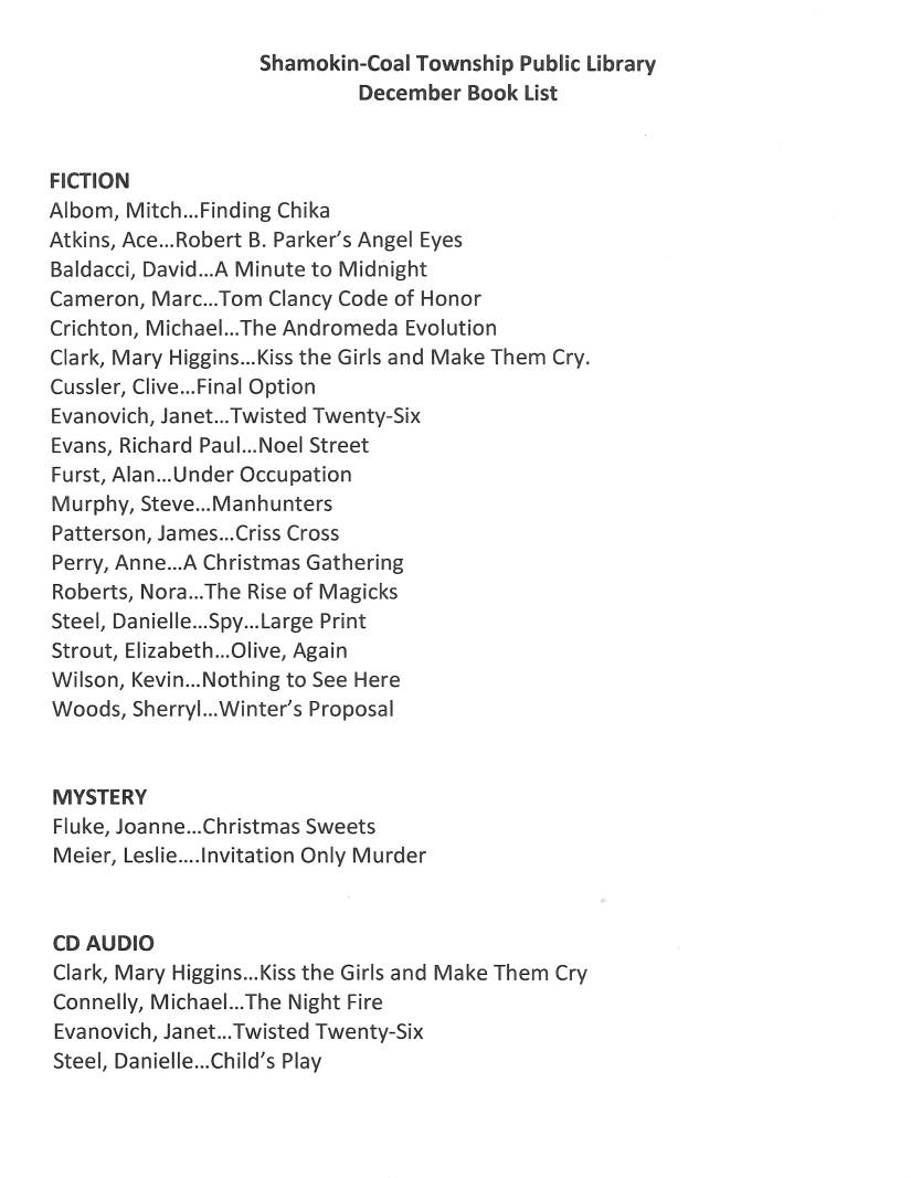 December 2019 Booklist