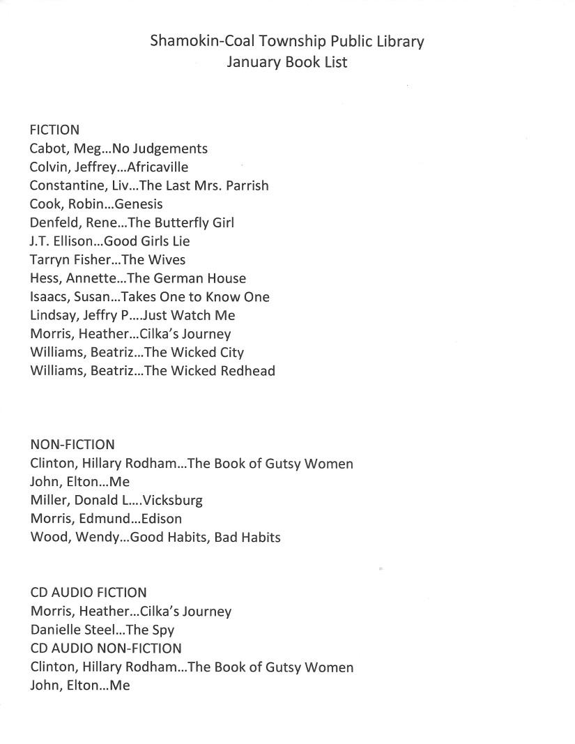 January Book List 2020