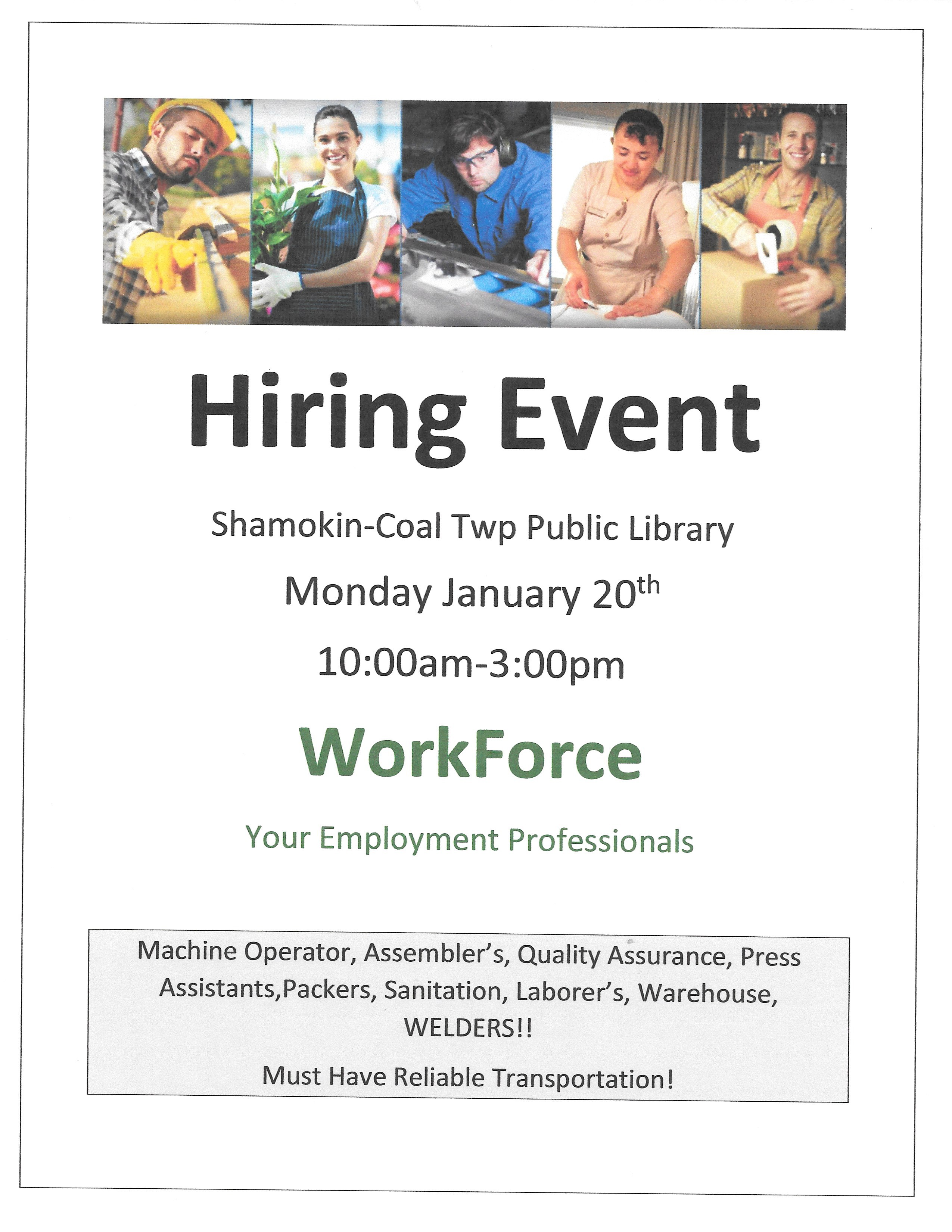 Worforce hiring event 1-20-20