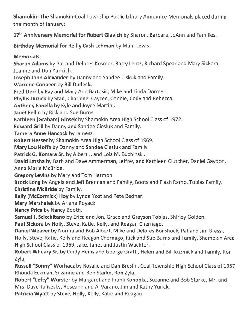 January 2020 Memorials