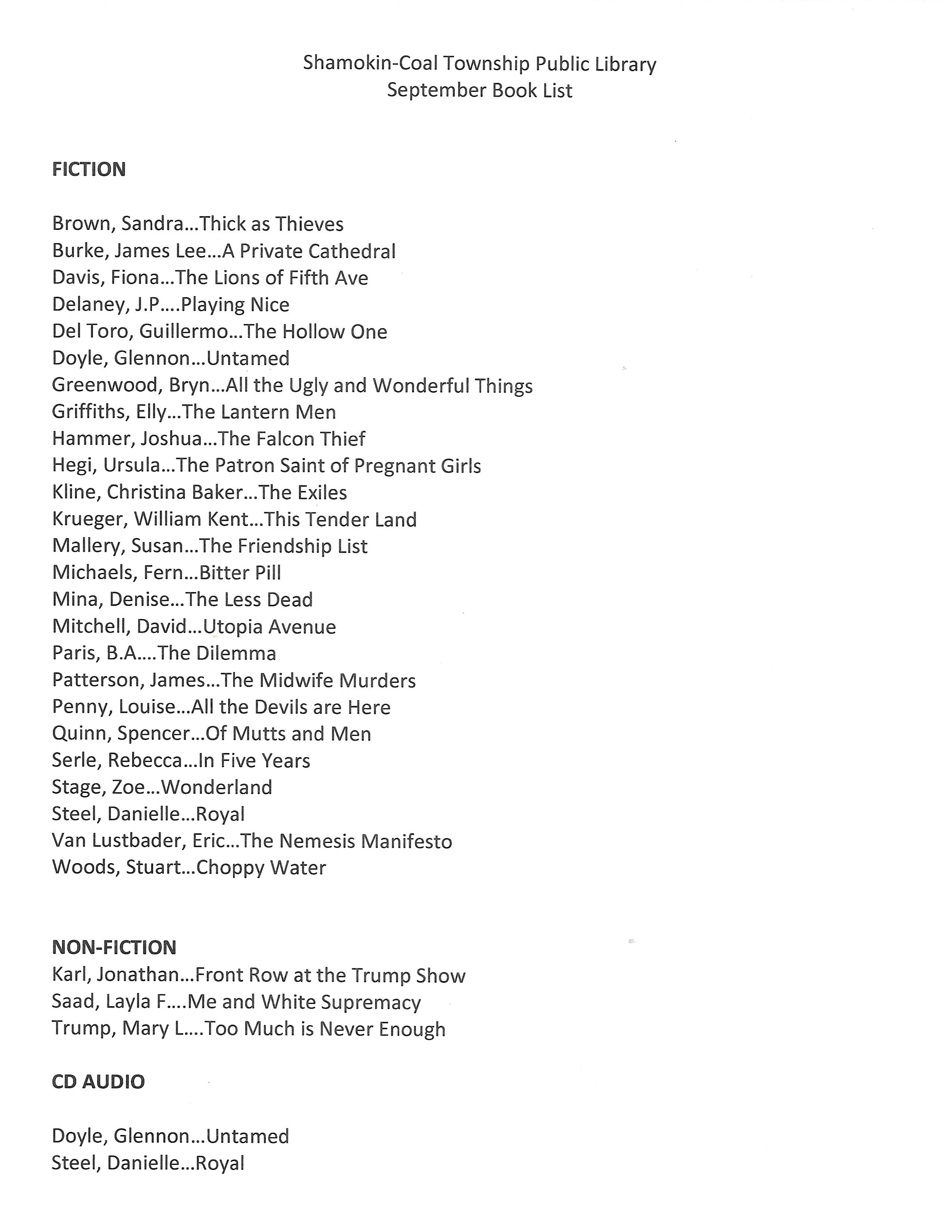 September 2020 Book List